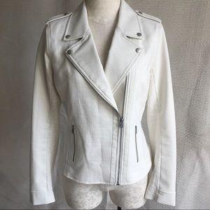 NYDJ Summer NWOT Linen Vegan Leather Moto Jacket